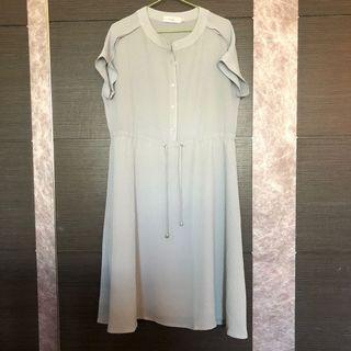 淡藍縮腰洋裝