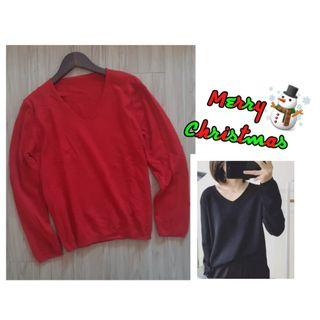 V領顯瘦針織衫·聖誕紅 #剁手時尚