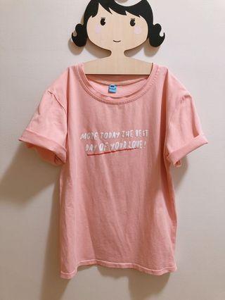 女款簡約休閒棉T 粉色