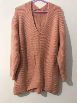 灰粉紅針織洋裝