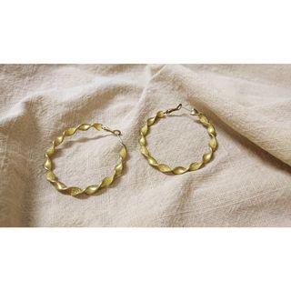 黃銅鍍金緞帶大耳環