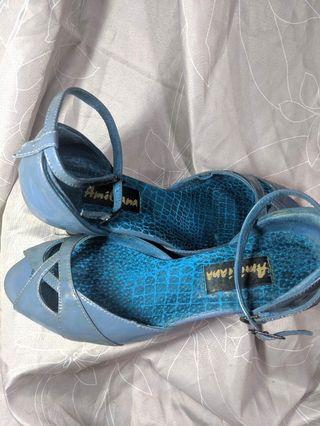 二手藍色魚口高跟涼鞋 #剁手時尚