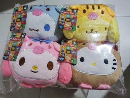 Japan Sanrio Characters Sling Bag Plush Soft Doll Toy Patung With Tag Hello Kitty Melody Pompompurin Cinnamoroll Cute Kawaii Girl Gift Children Present