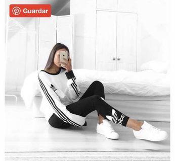 Adidas愛迪達三葉草黑色貼身彈性運動褲緊身褲#剁手時尚