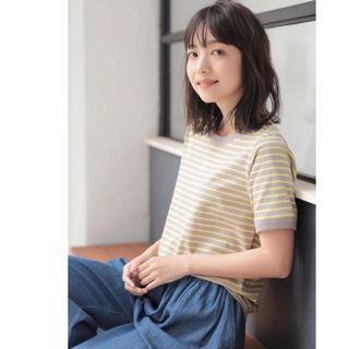 🇯🇵craft standard boutique黃灰色條紋短袖T恤#剁手時尚