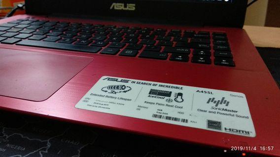 Laptop Asus A455L Win 10 Ori, 1TB Hdd , 4Gb ram