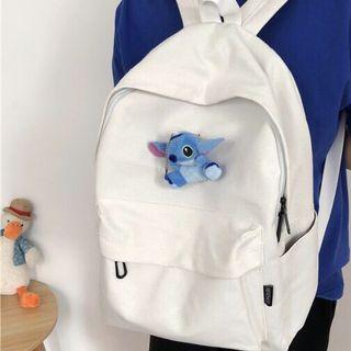 全新 日系小清新學院風全白帆布雙肩後背包