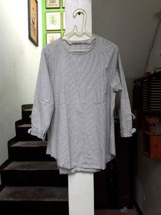 Atasan kemeja blouse stripe salur