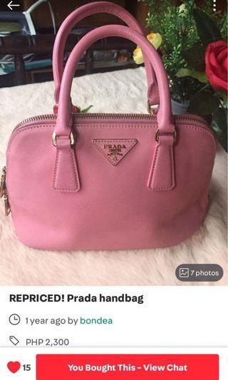 LV ALMA and PRADA PJNK handbags