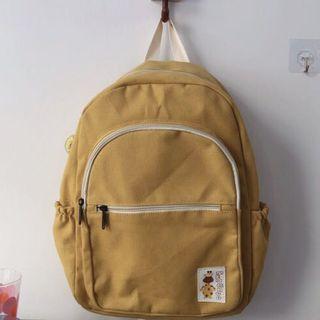 學院風森女系小清新薑黃色帆布後背包雙肩包