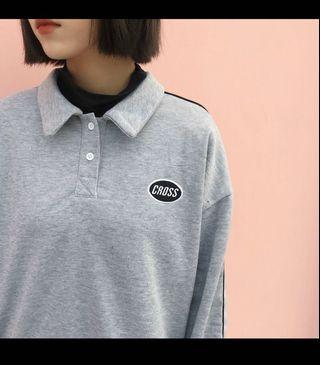 韓系刺繡灰色polo衫 #剁手時尚