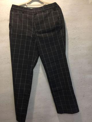黑白格紋長褲