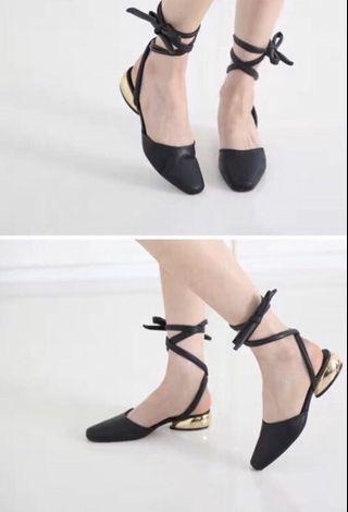 韓國皮革綁帶芭蕾鞋  #剁手時尚