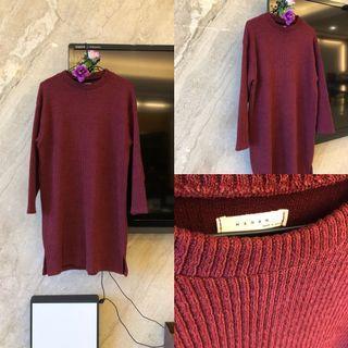 全新原價1290)正韓酒紅色針織長版休閒洋裝