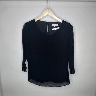 M&S Blouse Black Pleated