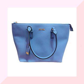包包 ANNA DOLLY托特包 藍色 簡約美學俐落手拿大托特包包 手拿包 女生包包#剁手時尚