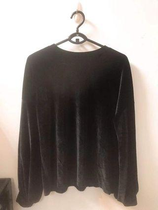 質感黑絨布休閒暖和修身上衣