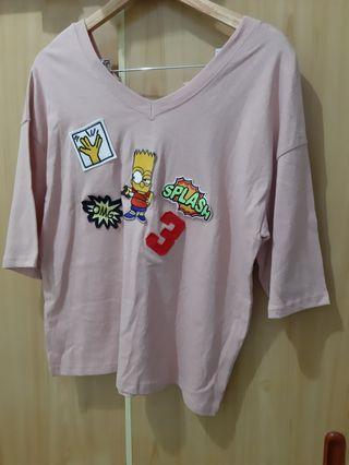 全新粉色V領可愛寬鬆薄上衣