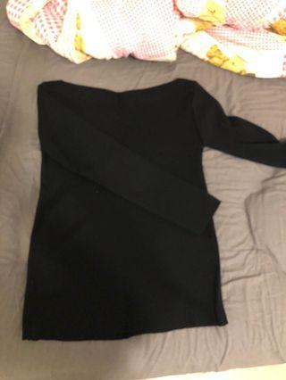 韓版黑色一字領針織#剁手時尚