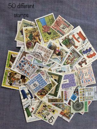 50 pieces of stamps of various countries
