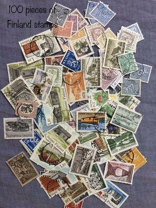 100 pieces of Finland stamps