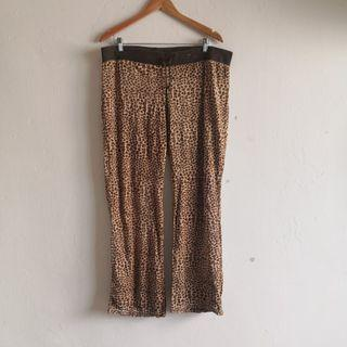 Brown Leopard Printed Cotton Poly Pajama Pants