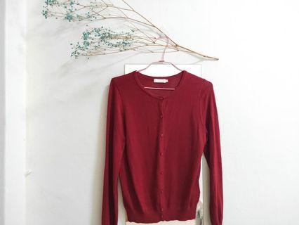 日本 earth music & ecology 純棉針織基本兩穿上衣 暗紅 (九成新,僅在家試穿過)