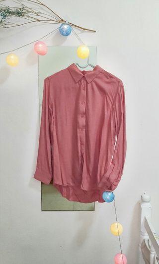 Uniqlo 粉紅嫘縈襯衫長袖XS (僅在家試穿過)