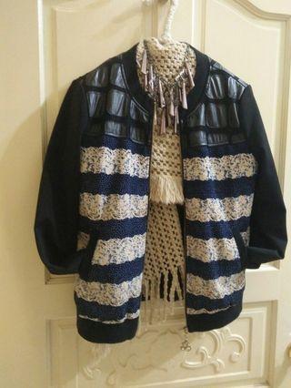 歐美 近新 皮拼飛行外套(買滿九百五之贈品)#剁手時尚
