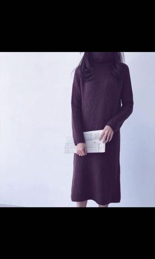 咖啡高領厚針織連身#剁手時尚