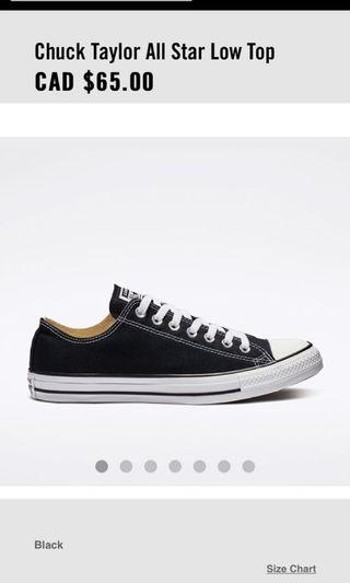 Chuck Taylor All Star Low Top |Black and White|size 6.5