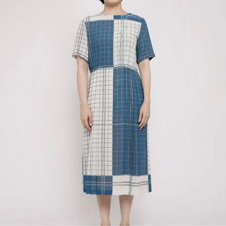 [ 古著 ] 藍白方格百摺拼接洋裝