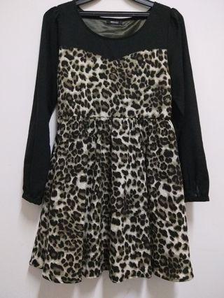 日系豹紋洋裝(9成新)