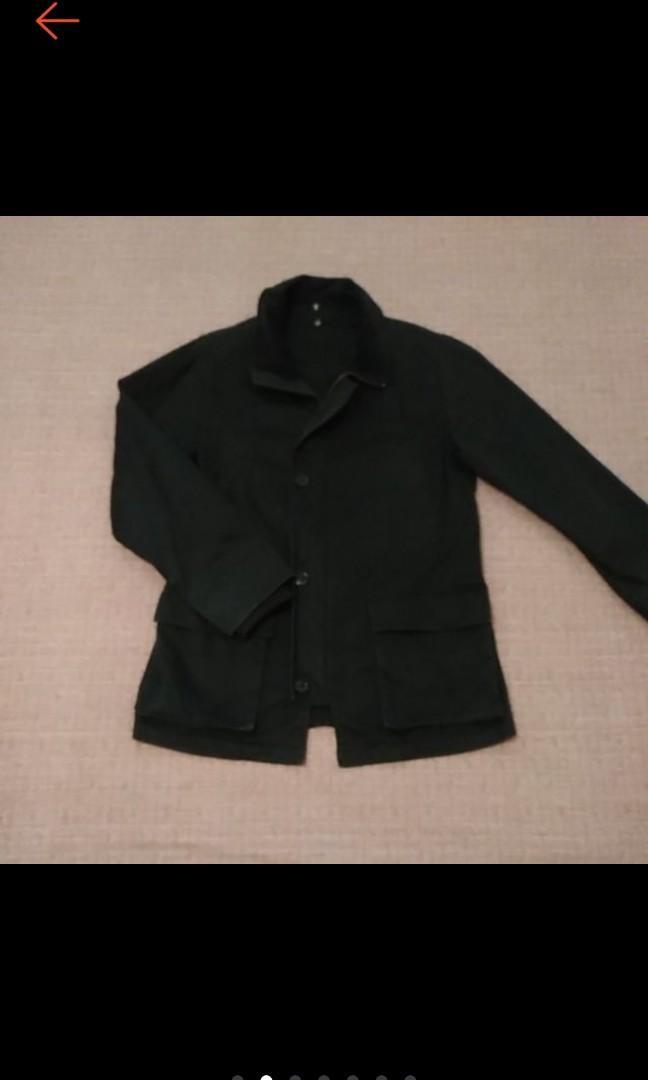 日牌 型男必備 經典黑 中長 縮袖 長袖外套