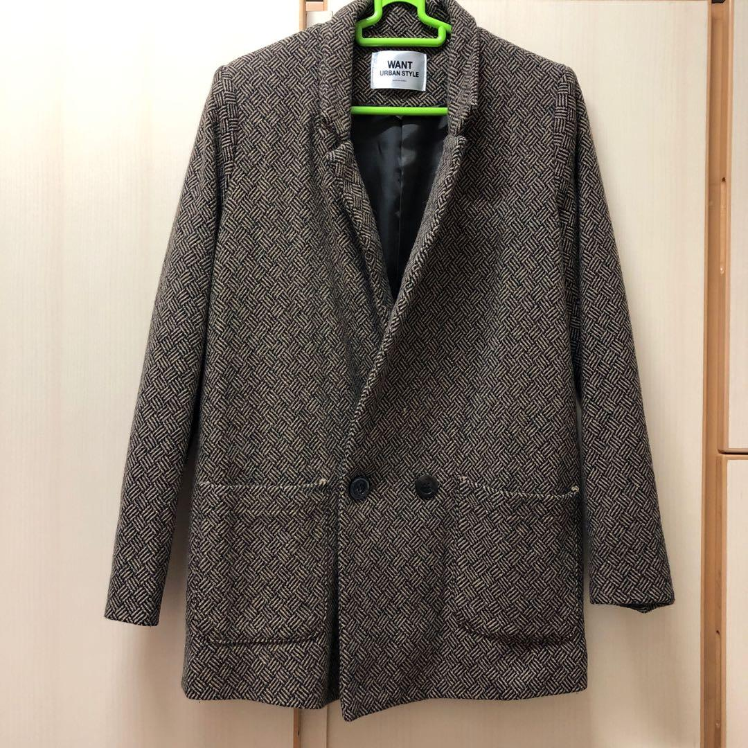 ⭐️ Made in Korea WANT URBAN STYLE brown pattern grid coat pocket jacket size free 韓國 牌子 韓國製 啡色 格仔 格子 大衣 外套 有袋