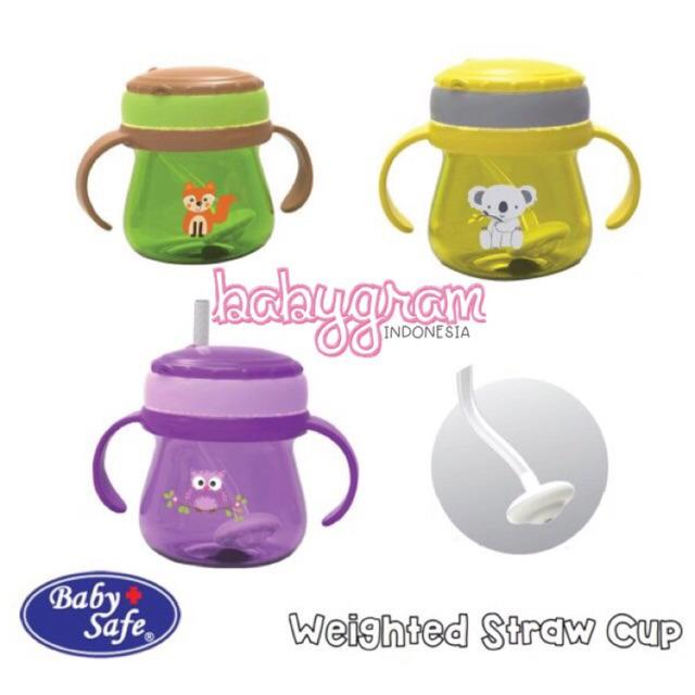 Baby Safe JP019 Training Cup With Weighted Straw 250ml / Babysafe Botol Minum Sedotan 360 2