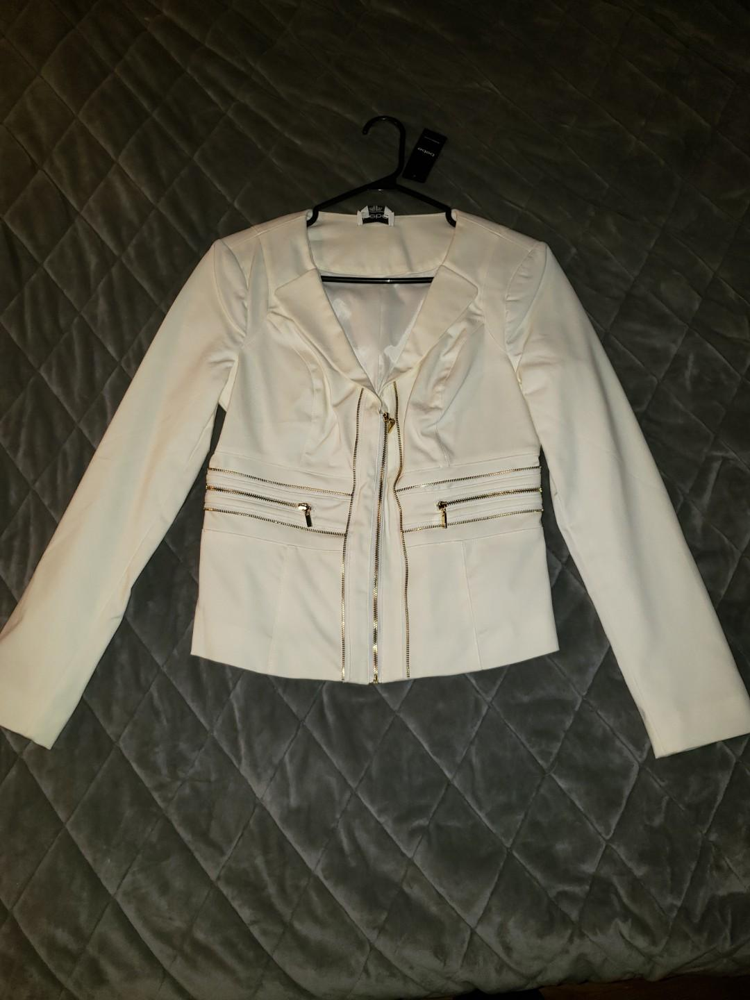 Bebe Blazer with Gold Zipper detail. Size Medium-new with tags.