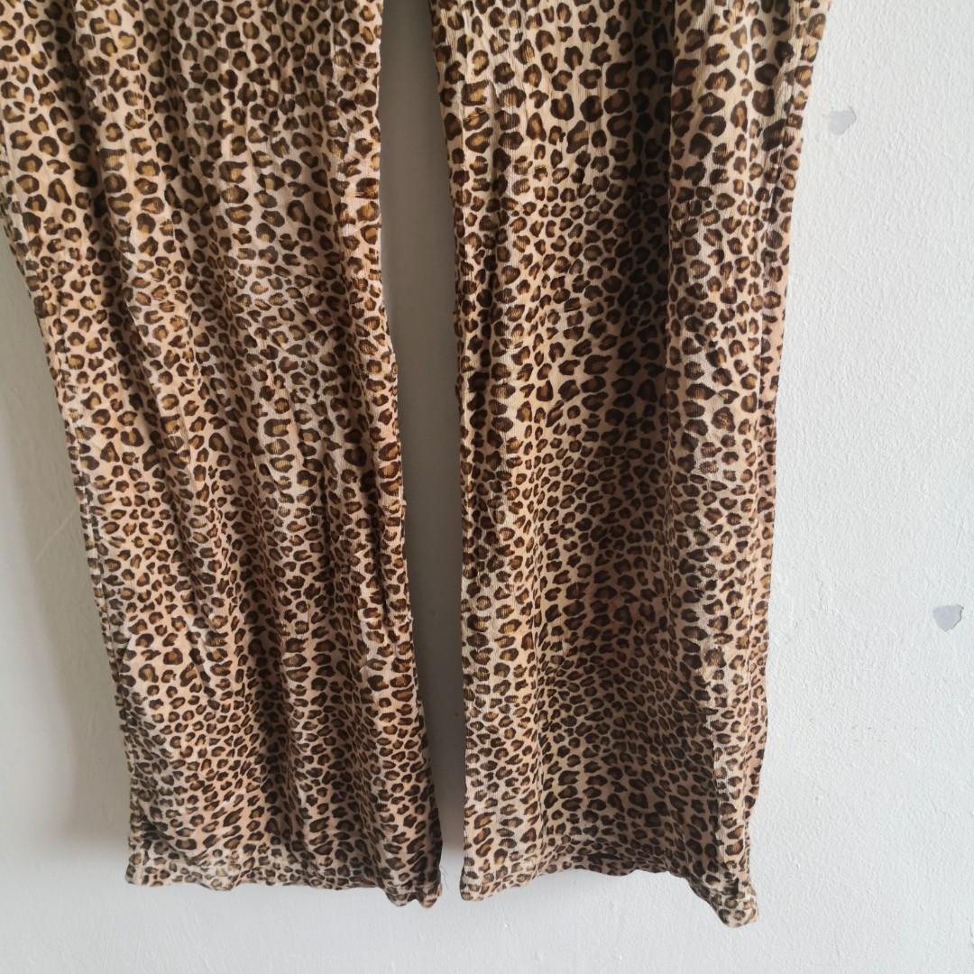 Brown Leopard Printed Cotton Poly Pajama Pants