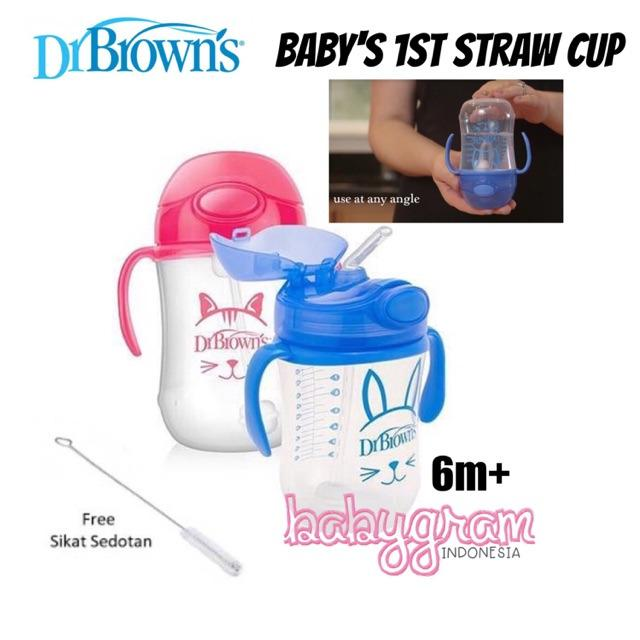 Dr.Brown's Dr Browns Brown Baby's First Straw Cup / Weighted Straw Cup Dr Brown 2