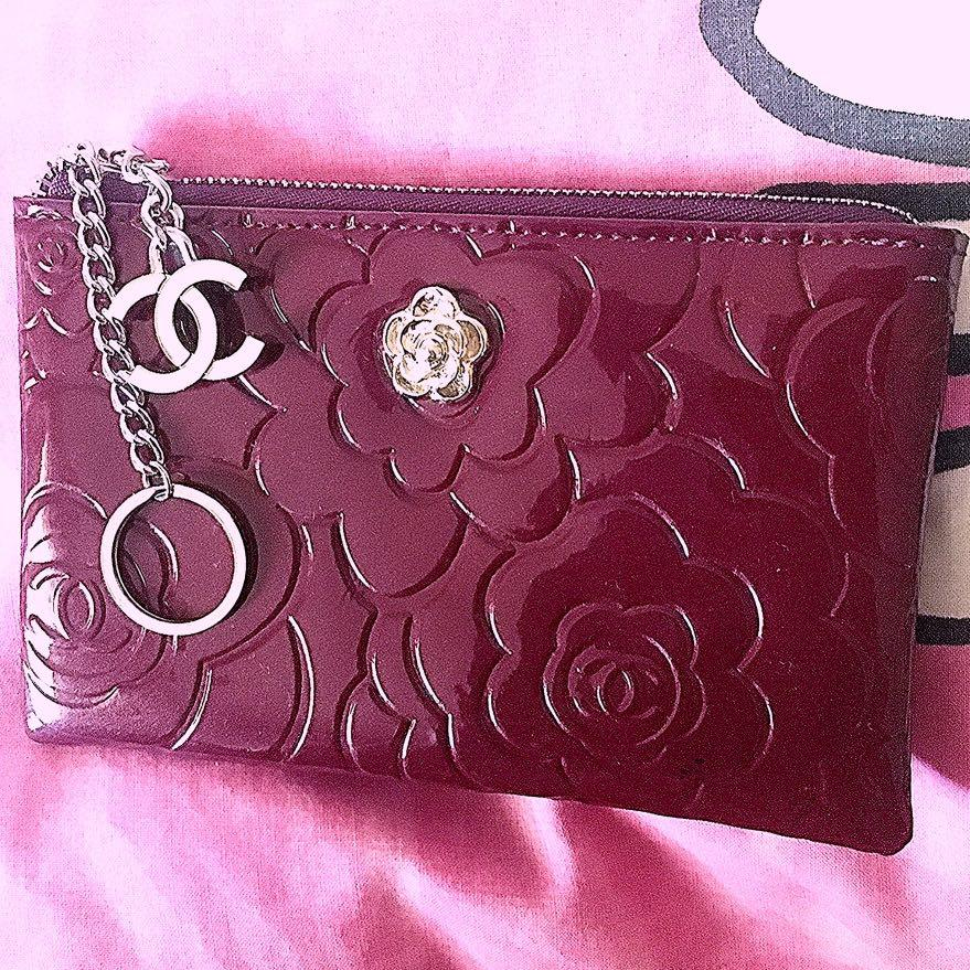 FAKE Chanel Caviar Camellia Key Chain Card case wallet