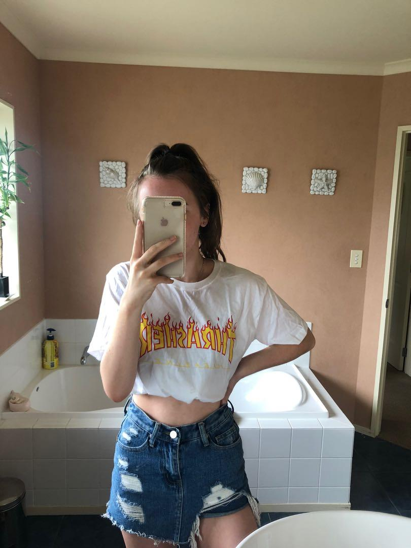Faux thrasher top