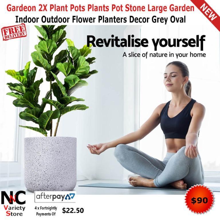 Gardeon 2X Plant Pots Plants Pot Stone Large Garden Indoor Outdoor Flower Planters Decor Grey Oval