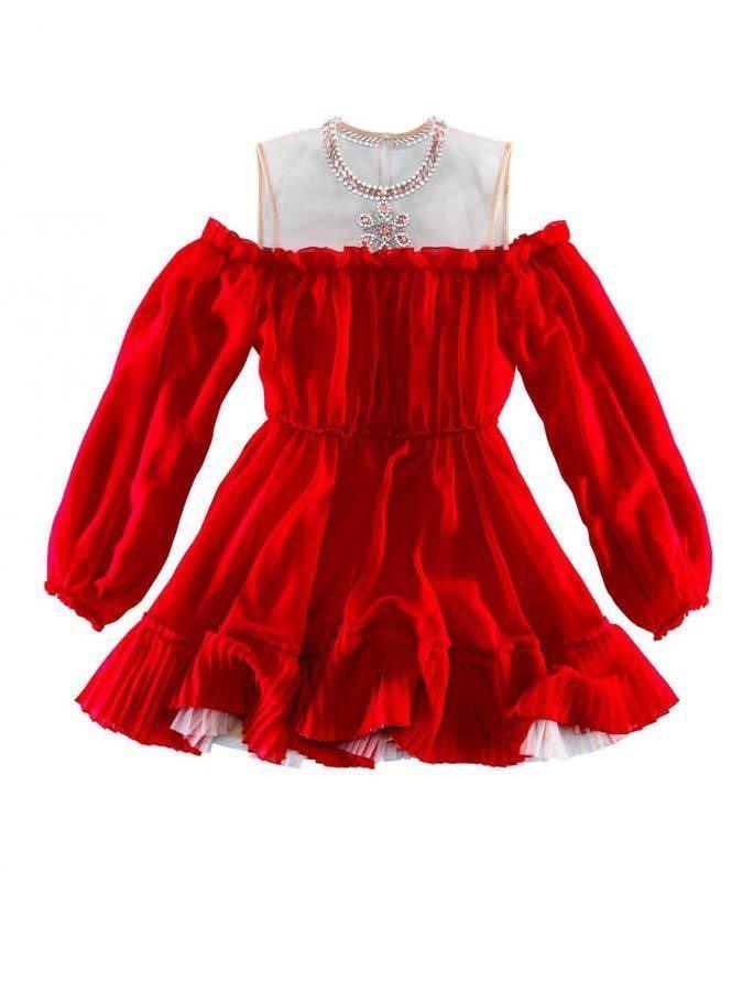 Giambattista Valli x HM red dress illusion neckline