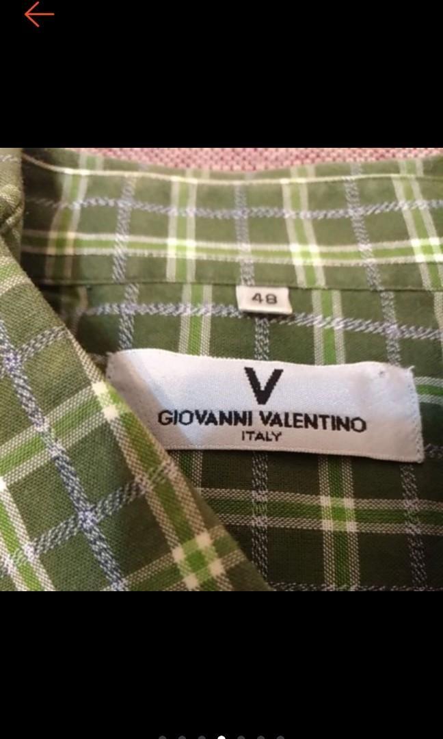GIOVANNI VALENTINO 經典Logo繡 男 綠色格紋 長袖襯衫 格子襯衫