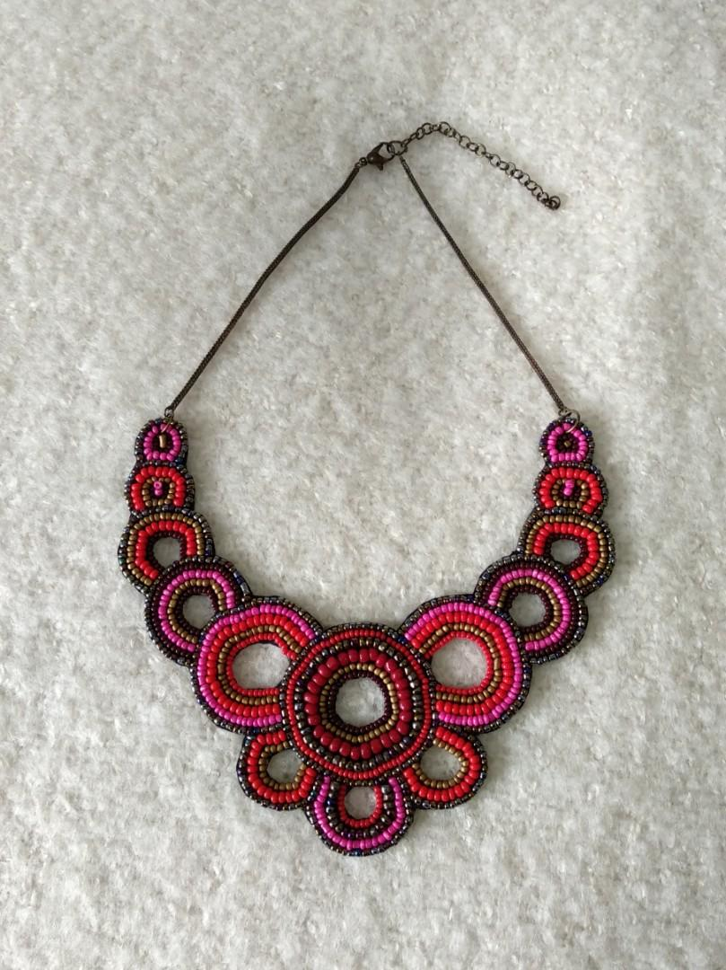Hand sewn beaded necklace
