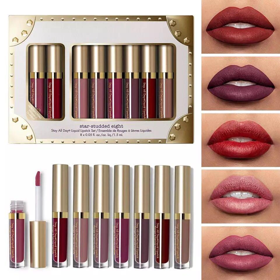 HOT 8Pcs Professional Lip Glaze Gloss Waterproof Makeup Matte Non-sticky Lipsticks