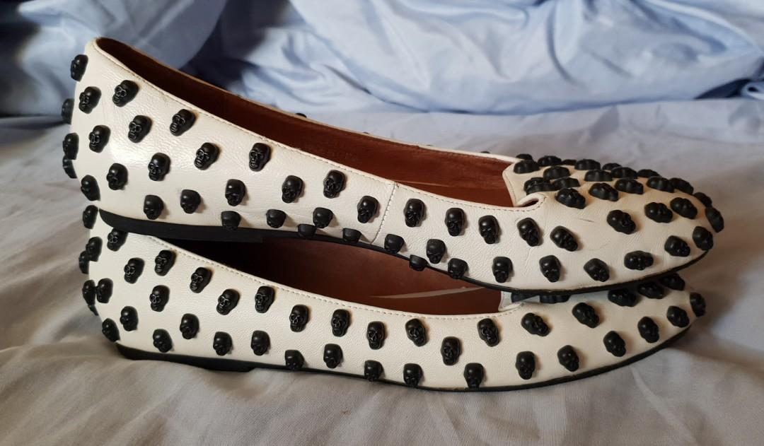 Jeffrey Campbell white Skulltini flats loafers sz 8
