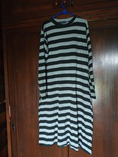 Kaos tunik stripe black and white