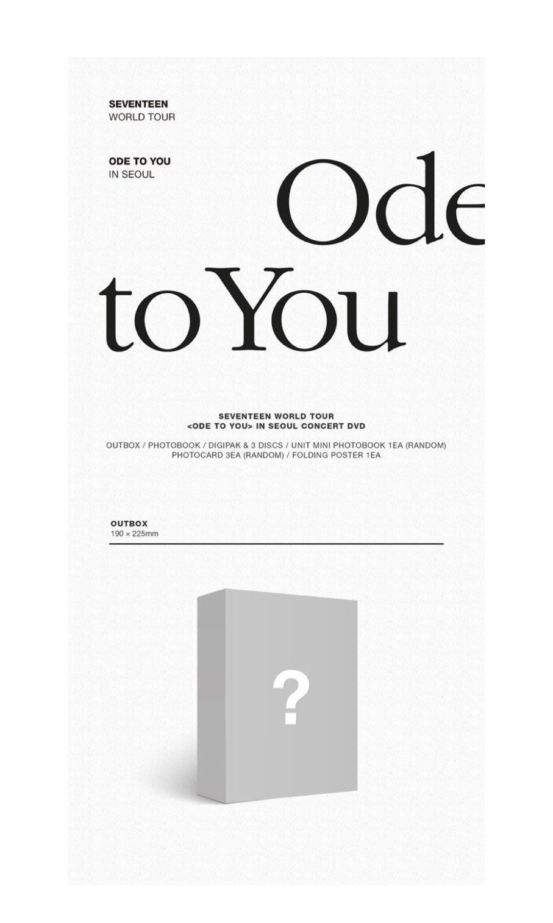 [LOOSE ITEMS] SEVENTEEN WORLD TOUR ODE TO YOU IN SEOUL DVD