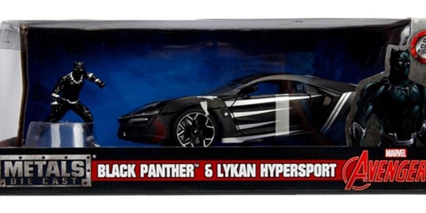 "Lykan Hypersport Black with Black Panther Diecast Figure ""Marvel"" Series"